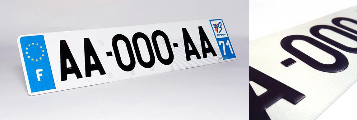plaque d'immatriculation en aluminium